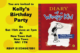 Personalised Birthday Invitations For Kids Diary Of A Wimpy Kid Personalised Party Invitations The Card Zoo