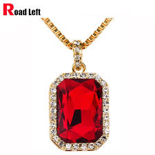 whole whole 18k gold plated hip hop chains men women red black blue green white ruby pendant bling bling necklace gold chains for men name