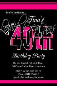 40th Birthday Invitations Adult Birthday Invitations Hot Pink Black 40th Birthday Invitation