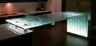 textured glass countertop with waterfall edge and led lighting photo source usilluminations