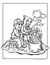 Small Picture Toasting Marshmallows Camping Coloring Page Woo Jr Kids Activities