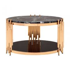 alvaro rose gold coffee table marble stainless steel black