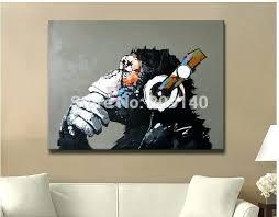 home office artwork. Framed Office Art Gorilla On Headphone Abstract Oil Painting Cute Animal Artwork Quality Handmade Home