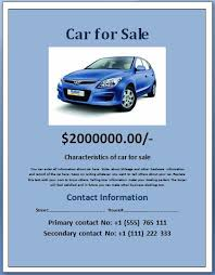 Car For Sale Sign Examples Sample Car For Sale Poster Flyer Template Formal Word Templates
