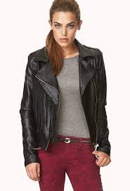 leather jackets forever 21 on the edge fringed moto jacket