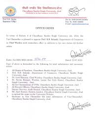 crsu notices circular  office order chief warden