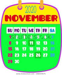 November 2020 Calendar Clip Art 2020 Calendar Cute Funny Fonts Stock Vector Royalty Free