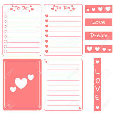Notes Template Printable Cute Pink Vector Set Of Printable Templates For Cards Notes