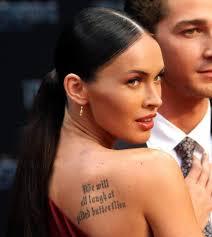 The Tattoo On Megan Foxs Right Shoulder Bloodline Inkwear
