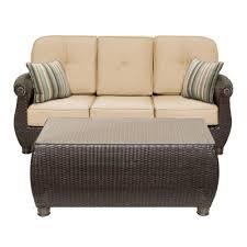 La Z Boy Breckenridge 2 Piece Wicker Outdoor Sofa and Coffee Table