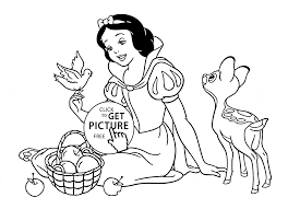Small Picture Disney Princess Snow White with animals coloring page for kids