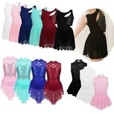 Ice Skating Dress <b>Girls</b> Dancewear Costume <b>Irregular Sequin</b> Ballet ...