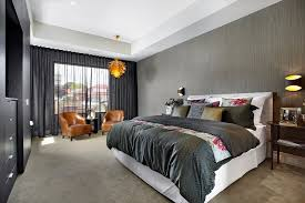Ceiling Mounted Curtains Bedroom Contemporary With Gray Wallpaper Black  Bedding Wall Lighting