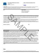 Sample Letter Of Recommendation Form Lsac Original Law School