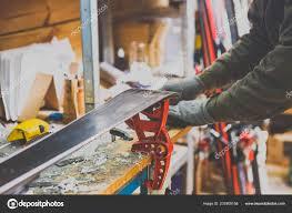 Repairing And Maintenance Theme Repairs Maintenance Skis Male Worker Repairing Work