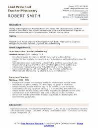 Education Objective For Resume Preschool Teacher Resume Samples Qwikresume
