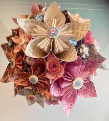 Paper Flower Lyrics Coral Navy Theme Paper Bouquet With Lots Of Handmade Flowers And