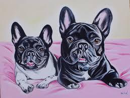 french bulldogs oil on canvas by artist dragoslav drago milic