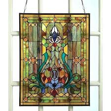 antique framed stained glass window panels wood frame large style p
