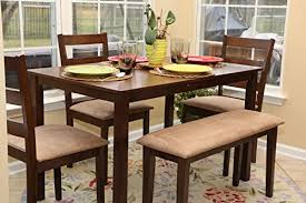 5pc dining dinette table chairs bench set new walnut