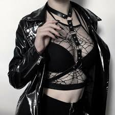 women punk gothic bra leather harness belt top chest straps for
