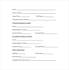 Emergancy Contact Sheet Emergency Contact Forms 11 Download Free Documents In Pdf Word