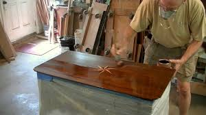 Refinishing a pass Inlay Table Top Thomas Johnson Antique