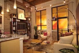 the brick condo furniture. Perfect The Home Decor Interior Apartments Luxury Loft Condo Design With Beautiful  Chrome Arch Lamp  Terrific  On The Brick Furniture C