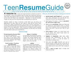 Resume Writing For Teens Resume Writing For Teens