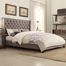 grey upholstered sleigh bed. Bedroom:Light Grey Upholstered Bed Wingback Panel Felisa Platform Frame Sleigh