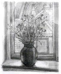 window pencil drawing. honorable mention lori sava, newburyport, ma still life, windowsill pencil drawing window