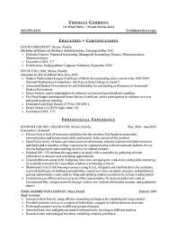 Resume With Internship Experience Examples Internship Resume Example Sample