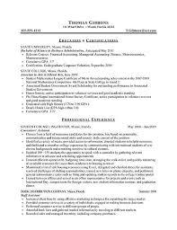 resume examples for internship internship resume example sample