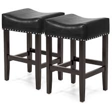 details about bcp set of 2 backless leather counter stool seat accents w silver studs