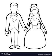 Wedding Icon Outline Style Royalty Free Vector Image