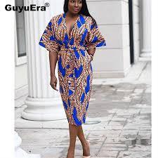<b>GuyuEra</b> 2019 <b>African</b> Dress For Women Print V neck Long Skirt ...