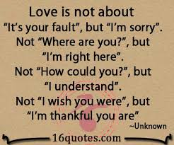 "Love Is Not About ""It's Your Fault"" Amazing Im Sorry Love Quotes"