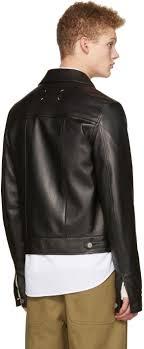 maison margiela black leather trucker jacket men mm6 maison martin margiela premium selection
