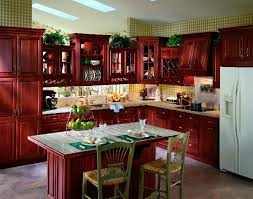 Redo Kitchen Jacksonville Florida With Red Cherry Wood Cabinets, White  Marble Top Tiles Kitchen Island