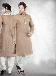 New Gents Suit Design Cotton Brown Solid Festive Men Pathani Suit Gents Kurta
