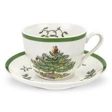 spode christmas treetea cup and saucer set of   spode uk