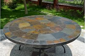 tiled garden table 63 round slate outdoor patio dining table stone oceane