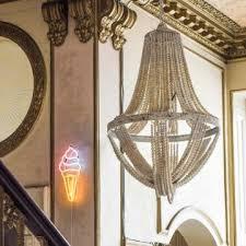 bianca wooden bead chandelier
