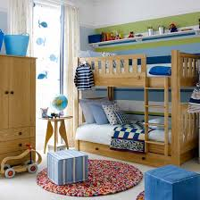 Boys' bedroom with pine bunk beds and striped feature wall
