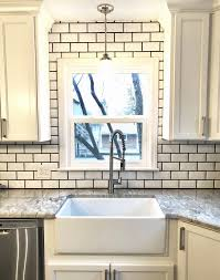 how to grout subway tile new farmhouse sink beveled white subway tile charcoal grout
