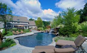 Wonderful Pool Designs And Landscaping Flowing Water Design P In Decorating