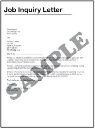 Letter Sample For Enquiry New Job Inquiry Email Example Cover Letter