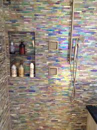 Traylor Bathroom Remodel Glass tile with handheld shower head by