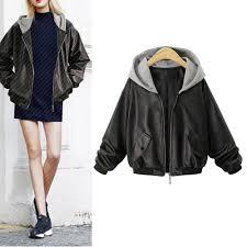 hodisytian autumn hooded women faux leather jacket er jacket short motorcycle coat outerwear cardigan femme plus size 4xl clothing