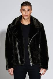 boohoo black premium oversized faux fur biker jacket for men lyst view fullscreen